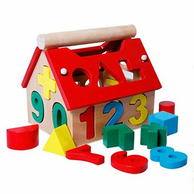 Posting House Shape Sorter Wooden Number Toys Kids Educational Intellectual LA