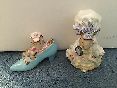 Vintage lot of two Beswick Beatrix Potter figurines Kady Mouse and Woman in Shoe