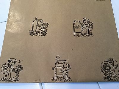 Vintage Hallmark wrapping paper US Mail Carriers and Mail boxes with children
