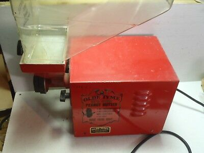 Old Tyme Peanut Butter Making Machine Red Nut Mill Grinder Working Commercial