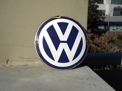 "Vw Old Porcelain Sign ~4-3/4"" Volkswagen Oil Beetle Gas Golf Gti Advertising Car"