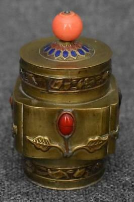 Antique Chinese Export Gemstone Studded Brass Tea Caddy Tea Canister