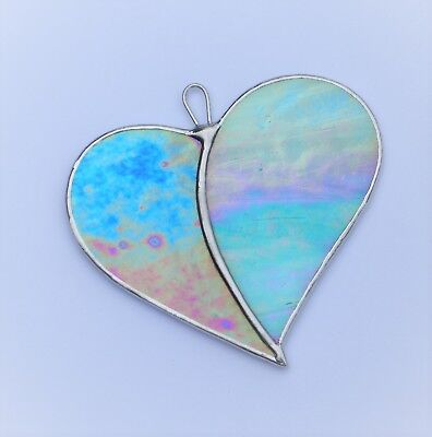 """Stained Glass ornament (Love Heart) """"When Two Hearts become One"""""""