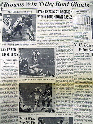 1964 newspaper CLEVELAND BROWNS WIN NFL Eastern Division FOOTBALL CHAMPIONSHIP