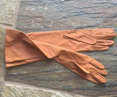 Vintage Day Gloves Ladies 3/4 Length 1960s Tan Size 7 Made in France
