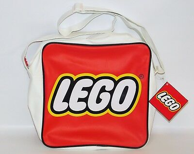 LEGO Retro Logo Messenger Bag NWT Satchel Storage Tote Fabric Lined Red/White
