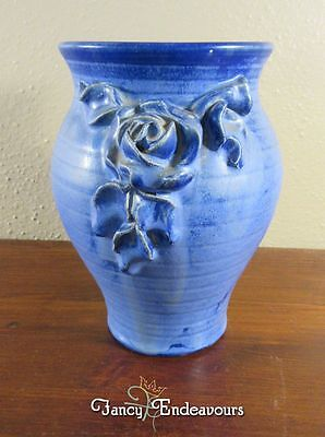 Vintage Fulpur Blue Chrystalline Glazed Vase with Applied Flowers Roses