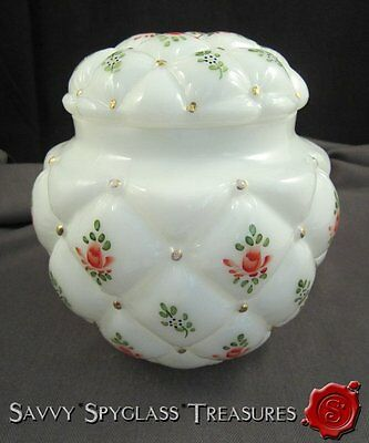 Lrg Phoenix Consoldiated Hand Painted Roses Forget Me Not Milk Glass Biscuit Jar