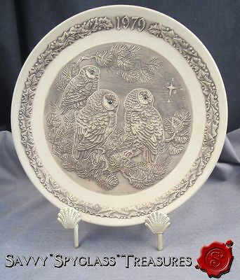 1979 Poole Pottery Bisque Stoneware Barbara Linley Adams Owl Christmas Plate