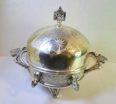 Antique AESTHETIC PERIOD BUTTER DISH Victorian QUADRUPLE Silver Rogers Smith 3 P