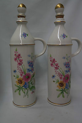 Vintage Limoges Decanters Pink Florals Gold accents Made in France Lot of 2