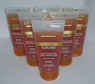 L'Oreal SUBLIME BRONZE Self-Tanning Gelee Medium 6 Tubes 5 oz Each Loreal