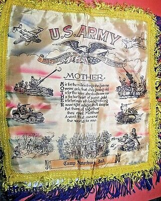 """WWII era satin pillow cover souvenir US ARMY Mother Fort Atterbury Ind. 18"""" ᵚ U2"""