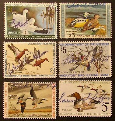 RW37 to RW42 - 1970 to 1975 Federal Duck Stamps - Used