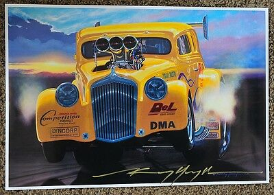 New Kenny Youngblood Signed Nitro Gasser  Desert Sunset Drag Racing Print