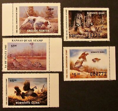 1982 to 1985 Quail Conservation Stamps - Mint NH Full Gum