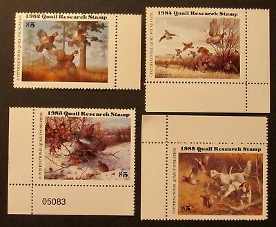 1982 to 1985 Quail Research Stamps - Mint NH Full Gum