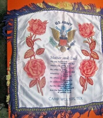 """WWII satin pillow cover souvenir US ARMY Mother & Dad Camp Wolters Tex 19"""" ᵚ U2"""