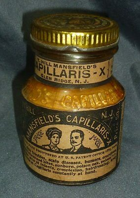 MANSFIELD'S CAPILLARIS SCALP DISEASE GEL JAR-Contents-Label-Lid-Embossed-c.1910