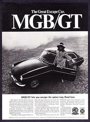 """1968 MG MGB Convertible photo """"Escape from Dull Driving"""" vintage print ad"""