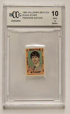 RINGO STARR BEATLES PREMIERE EDITION POSTAGE Stamp GRADED 10 MINT Vintage 1964