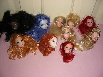 10 Doll Heads - Barbie, Disney, & Monster High - heads only