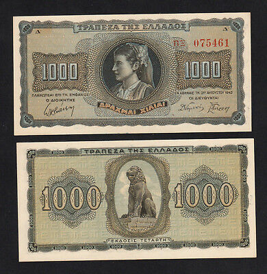 Greece 1000 Drachmai (1942) P118a banknote UNC Minor