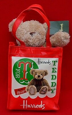 Authentic Harrods 't Is For Teddy Bear' Bear In A Bag!   Perfect Condition!