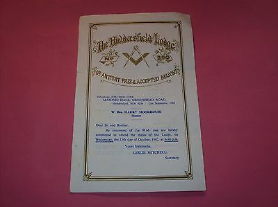 Masonic Huddersfield Lodge of Ancient Free & Accepted MASONS Brother H Moorhouse