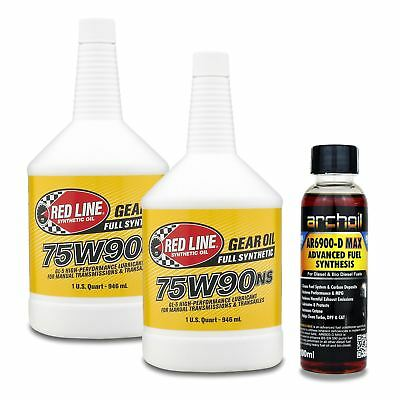 2 x Red Line 75W90NS (Non Slip) Manual Transmission & Transaxle Gear Oil - 946ml