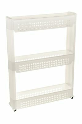 3 Tier Slide Out Storage Tower Folding Rolling Castor Kitchen Trolley Spice Rack