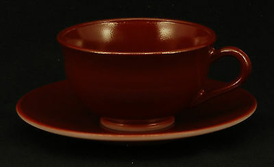 Hazel Atlas Glass Ovide Burgundy Cup and Saucer