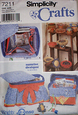 Simplicity SUNRISE DESIGNS Sewing Organizers Pin Cushion Container Pattern 7211