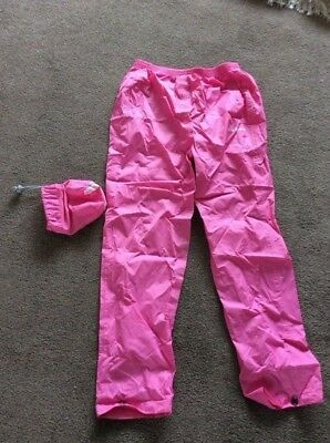Peter Storm Childrens waterproof trousers age 11 - 12 years, pink in pack VGC