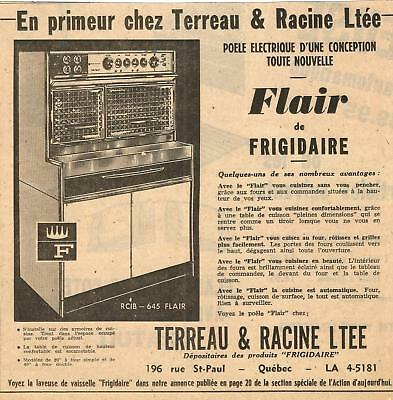 1954 FLAIR ELECTRIC RANGE by FRIGIDAIRE ORIGINAL AD IN FRENCH