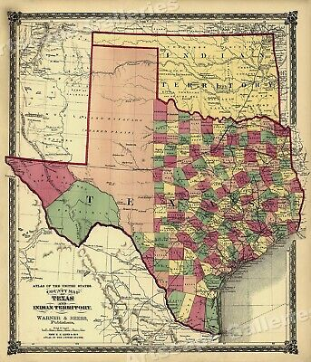 1875 County Map of Texas Counties and Indian Territory - 20x24