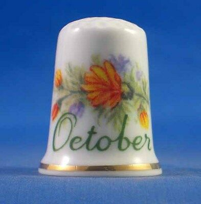 Fine Porcelain China Thimble - Flower Of The Month -- October - Free Gift Box