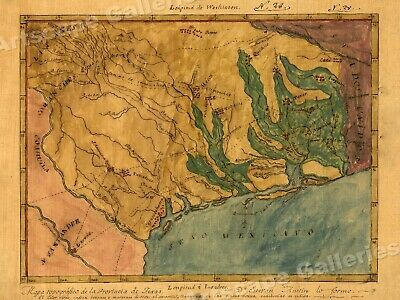 1820s Map of the Texas Territory by Stephen Austin - 20x28