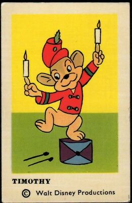 1964 Vintage Swedish Unnumbered Disney Set Gum Card Timothy Mouse