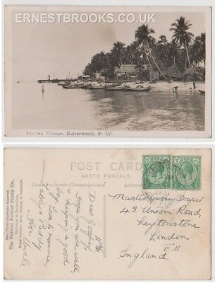 Early Postcard, Malaysia, Penang, Fishing Village, Butterworth P.W.  1931 RP
