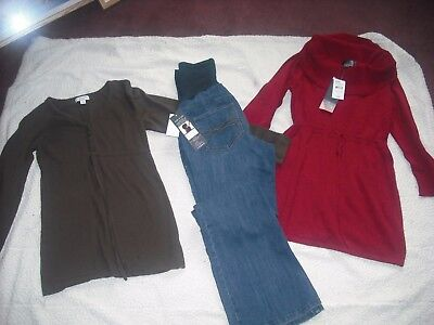 Womens Maternity NWT Lot 3 Oh Baby Motherhood Sweater Jeans Size Small