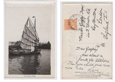 Early Postcard, Malaysia, Penang,  Chinese Junk, Nice View, 1931 RP