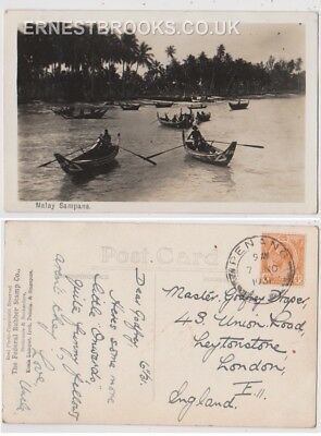 Early Postcard, Malaysia, Penang,  Malay Sampans, Nice View, 1931 RP