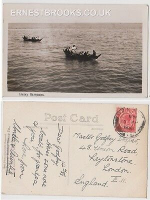 Early Postcard, Malaysia, Penang,  Malay Sampans, Nice View, 1933 RP
