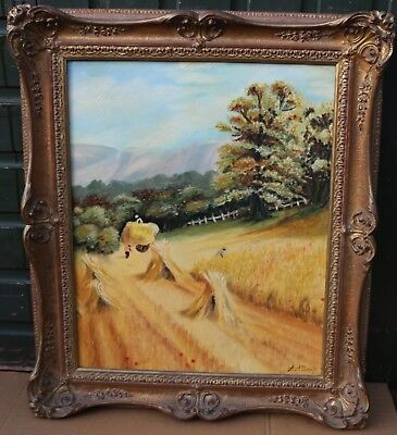 Large Fancy Gilt Framed Painting On Board Hayfield By A Allsop