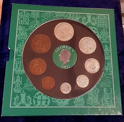 1931 Vintage 8 Coin Set Includes 5 Silver Presentation Pack 86Th Birthday Gift