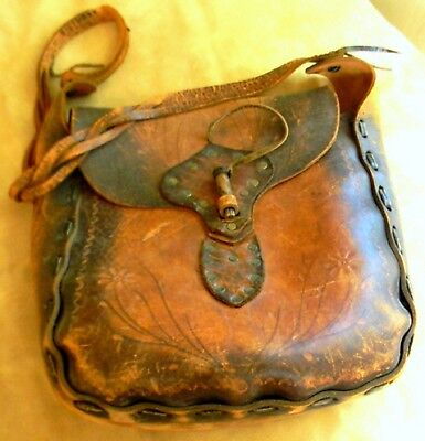 Vintage Antique Rare 1800s Old Leather Mail Pouch from Texas