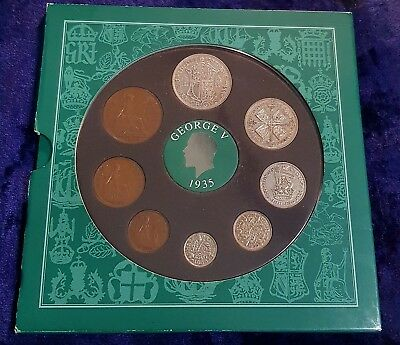1935 VINTAGE 8 COIN SET INCLUDES 5 SILVER PRESENTATION PACK 82nd BIRTHDAY GIFT