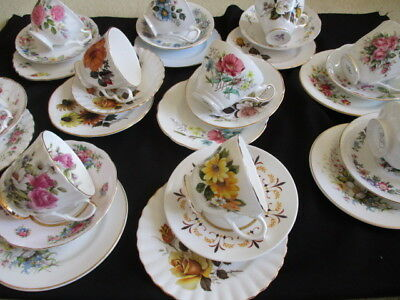 Vintage china pretty mismatched Trios tea cups & saucers, plates  x 10