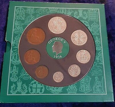 1936 VINTAGE 8 COIN SET INCLUDES 5 SILVER PRESENTATION PACK 81st BIRTHDAY GIFT